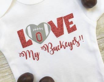 Ohio State Onesie, Buckeye Baby Onesie, Baby Girl Buckeye, Baby Girl Ohio State, Newborn Buckeye Onesie, New Mom Gift,  Girl Buckeye Clothes