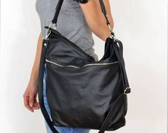 BLACK LEATHER HOBO Bag, sale-20%,  Crossbody Bag - Everyday Leather, Shoulder Bag,Slouchy leather hobo,Natural leather,hobo bag