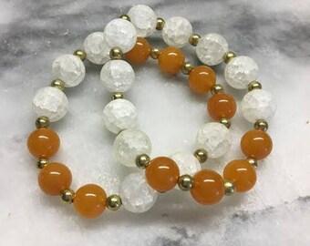 Orange and White Beaded Stretch Bracelets Set of 2