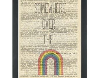 Music lyrics Nursery Somewhere over the Rainbow Dictionary Art Print
