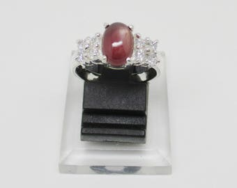 Natural Star Ruby Silver Ring + Certificate of Genuine Gemstone