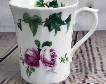 Allyn Nelson Coffee Tea Swirl Mug Ivy Pink Rose Fine English Bone China England