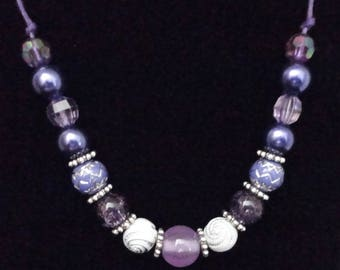 Purple Beaded Necklace with Silver Accents