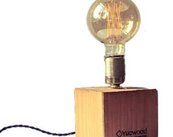 "Edison Table lamp, night lamp, ""Cube One"", Industrial Lamp, wooden lamp, handmade, Loft, natural Light, Bar lighting,"