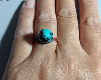 Teal wire wrapped ring
