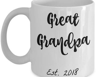 Great Grandpa Gifts - Best Great Grandpa Est. 2018 Coffee Mug - He Just Got Promoted to Great Grandpa! 11 oz Cup - Grandparents Reveal Gift