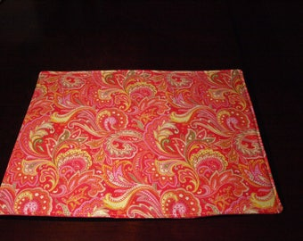 Rose, Pink and Yellow Paisley Placemats               Set of 4