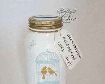 Personalized  Engagement/Wedding Gift 1 Litre Kilner Money Jar/Box