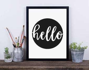 Hello Framed Digital Print, Circle and Typography, Christmas Gift, monochrome, Wall Decor, A4/A3,