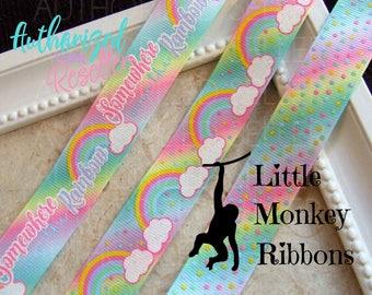 Somewhere over the rainbow, rainbows, 7/8 Grosgrain Ribbon, clouds