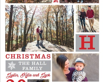 Christmas Card Collage - COlORS CAN BE CHANGED - One sided