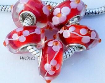 Murano glass beads, lampwork, large glass beads, Murano beads, lampwork beads, large hole beads, glass bead, large glass bead, floral bead