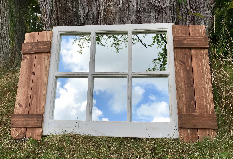 Farmhouse Window Frame with Board & Batten Shutters, Vintage Style 6 ...