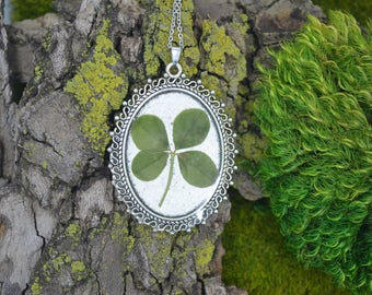 Genuine 4 Leaf Clover Cameo Necklace [BC 003] / Stainless Steel Necklace / White Clover / Triforium Repens Clover / Good Luck Charm