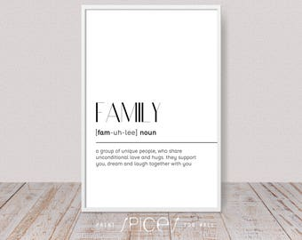 Family Print, Printable Definition, Family Quote, Family Art, Funny, Family Poster, Word, Dictionary Art, Office Decor, Digital Art, A4