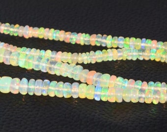 Natural Ethiopian Opal Rondelle Faceted Beads AAA Quality 7 - 4 MM Size 17 Inches Strand
