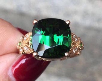 Tourmaline Ring Brazil Origin Green Tourmaline AAA+ Faceted Cushion 10.6 x 10.2 MM Tsavorite Diamond 18K Rose Gold Ring Jewelry