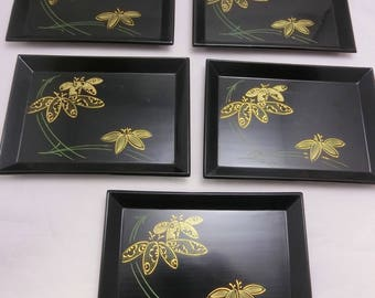 Antique! Set of 5 Black Lacquering Rectangular Tray genuine Gold Tooling Japan
