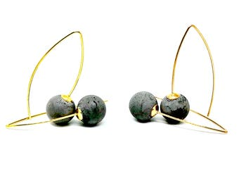 Concrete and gold plated silver ball earrings yellow or rose gold
