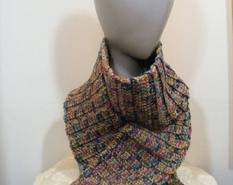 Ladies knit scarf crochet/knit with fringe multi color