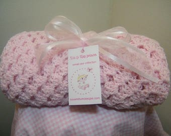 Knit/crochet blue/pink knit baby blanket  + FREE knit baby hat with purchase