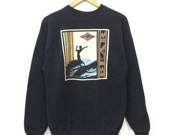 Sale 15% Rare !! Vintage BEAR sweatshirt Big Logo Print Crewneck 50/50 Material Made in Usa Size Medium #A4
