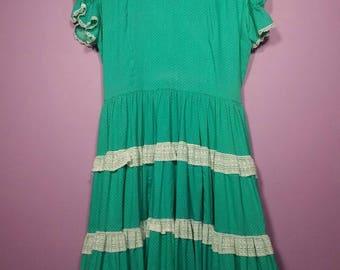 1950s Kate Schorer Groovy Teal Polka Dot & Lace Full Skirt Dress