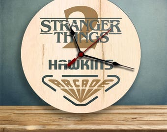 Stranger Things 2 clock, Arcade Wood Clock, Gifts for Her, Gifts for Him