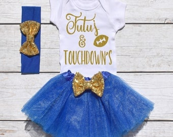Tutu's and Touchdown's. Girls Football Tutu Outfit. Football Outfit. T19 FBL (ROYAL)