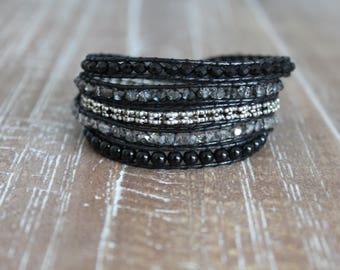 onyx and crystal wrap bracelet