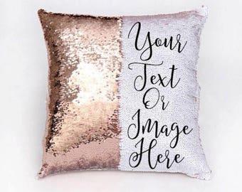 Sequin Magic Pillow Personalized Magic Pillow Custom Unique Hidden Message Reversible Sequin Pillow Funny- Pillow Case Only