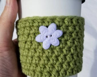 Springtime Crochet Cup Cozy -White Flower Medium Sized Felt Button Everyday Cup Sleeve in Froggy Green