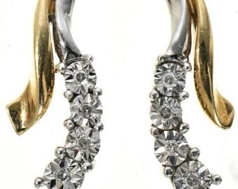 Vintage 10K Yellow Gold Diamond Post Earrings Pretty  Design