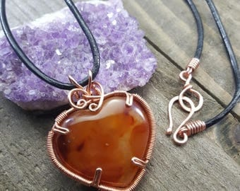 Hand Wire Wrapped Carnelian Heart Pendant