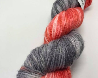 Hand Dyed Yarn Oddball Coral and Grey Variegated 100g Hank Approx 225m DK Double Knitting 80/20% Superwash Merino/Bamboo Mulesing Free