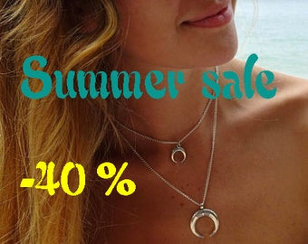 SUMMER SALE / / / pair of Crescent moon silver necklace