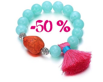 SUMMER SALE / / / boho Blue beads Bracelet & pink tassel