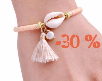 SUMMER SALE / / / boho cowrie shell Bracelet / / / Fimo beads / cowry shells / mother of Pearl bead / tassel / pendant