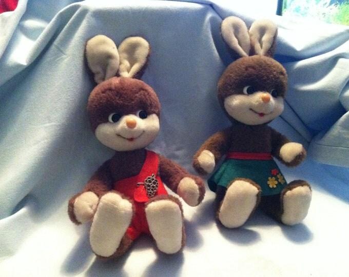 Vintage 2 Bigo Bello Schuco fabric Animals Bunny Easter Bunny Decoration