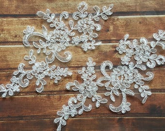 1 Pair Bridal Lace Applique Trim Appliques in Off-White for   Weddings,Sashes,Veils,Headpieces, WL841