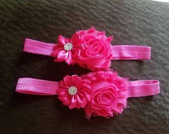 Chiffon Flower Headband - Newborn Headband - Toddler Headband -  Cake Smash - Flower Girl Bow -  Hair Bow - Shabby Bow
