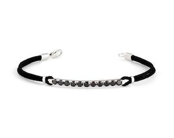 14k white gold and black diamond bar bracelet