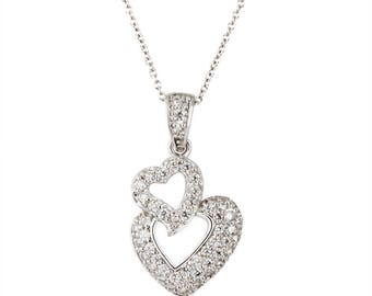14k white gold diamond double heart pendant