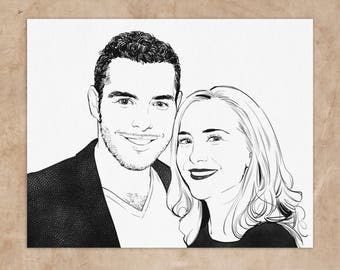Custom couple portrait from photo, wedding portrait drawing, personalized wedding gift, gift for couple, anniversary gift, wedding gift