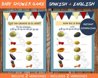 Baby shower game / SPANISH + ENGLISH VERSIONS / How big is baby? / Baby Shower boy / Instant download  / Printable
