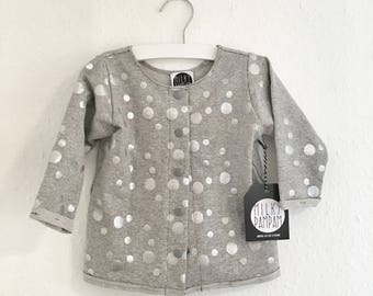 2 in 1 jacket & sweater light grey mottled with Silver metallic points