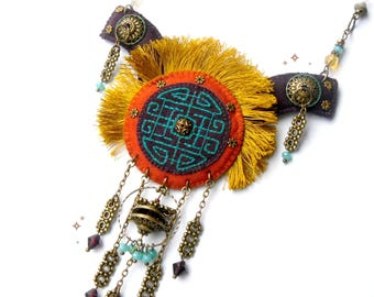 "EMBROIDERED JEWELRY - Yellow textile bib necklace mongolian ethnic original bohemian Asian ""Altay"""