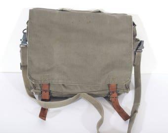 VINTAGE MESSENGER BAG, Canvas shoulder bag, military army crosbody bag, 1980's, Gift
