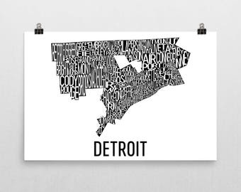 Detroit Typography Neighborhood Map Art City Print, Detroit Wall Art, Detroit Art Poster, Michigan Gifts, Map of Detroit, Detroit Artwork