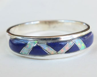 Sterling Silver Inlay Inlaid Native American Indian Navajo Lapis Lazuli Opal